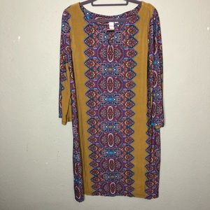 Bright Olive Green and Paisley Dress Size XL